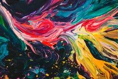 Makro- zakończenie up różnego koloru nafciana farba kolorowy akrylowy Sztuki współczesnej pojęcie Zdjęcie Royalty Free