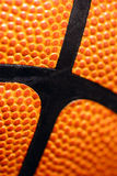 Makroansicht des ledernen Basketballs Stockfotografie