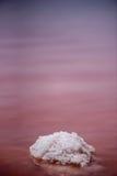 Makroansicht des Salzfelsens an rotem wellenartig bewegtem sonnigem Tag Wasser Salinen-Torreviejas Spanien mit reflektierender Ob Stockfotografie