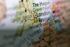 Makroansicht von London-Karte Lizenzfreie Stockbilder