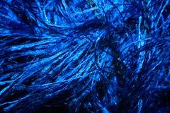 Makrobakgrund av den blåa fluffiga tråden för att sticka Royaltyfri Fotografi