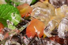 Makrobild av crystal kalla iskuber med druvor, carambolaen och mintkaramellsidor som en bakgrund Ingredienser för sommarcoctailar Arkivfoto