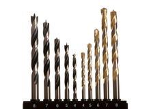 Makrobild av drillborrbitar för trä och betong av olika format royaltyfria bilder