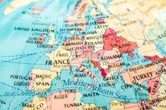 Makrobild av en översikt av Europa arkivbild