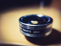 Makrobild av Fisheye Lens det toppna slutet upp arkivbild