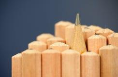 Makrobild av grafitspetsen av en skarp vanlig träblyertspenna som teckning och skissninghjälpmedlet som står bland andra blyertsp Arkivbilder