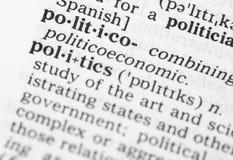 Makrobild der Wörterbuchdefinition der Politik Stockfoto