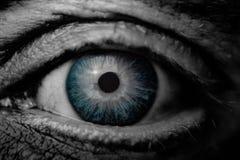 Makrobild des menschlichen traurigen blauen Auges mit Tränen, Nahaufnahmedetails lizenzfreie stockfotografie