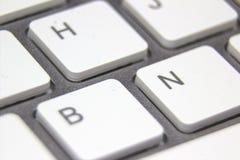 Makrobild einer weißen Tastatur Stockfotografie