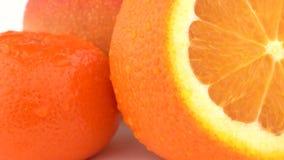Makroen av mango, orange frukt och mandarinen bär frukt med droppar på huden rotera på vit bakgrund isolerat lager videofilmer