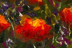 Makroen blommar röda gula vallmo i grönt gräs Fragment av närbildmålning Kanfas olja, palettkniv abstrakt blommor text Royaltyfri Foto