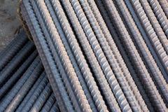 makroen för fältet för djup för abstrakt begreppstänger förstärker den konkreta grunt stål för stänger till använt Arkivfoton
