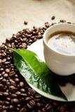 Makroen kantjusterade skottet av skummigt kaffe med det gröna bladet på linnetorkduken Royaltyfria Bilder