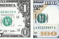 Makroen sköt av en ny 100 dollarräkning och en dollar Fotografering för Bildbyråer