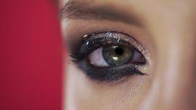 Makroen som skjutas av kvinnans blinkaögat med aftonmakeup och, blänker, piskar mascara, feriemakeup stock video