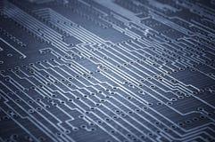 Makrofors av det tomma microcircuitbrädet Fotografering för Bildbyråer
