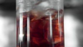 Makrofors av glass mycket med kuber för en is och röda alkoholer som blandar med en bartendercoctailsked glass martini stock video