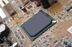 Makrofoto des Computermotherboards Stockbild