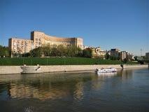 Makrofoto med dekorativ landskapbakgrund av modern stads- infrastruktur av den ryska huvudstaden av Moskva Royaltyfria Foton