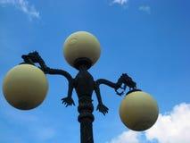 Makrofoto med härliga privata säkra system för belysning för gatalampa av stads- infrastruktur Royaltyfri Foto
