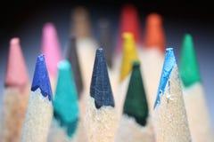 Makrofoto von farbigen Bleistiften Lizenzfreies Stockfoto