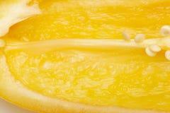 Makrofotografi av frö av gul paprika Selektiv fokus, suddig bild klipp bulgarisk peppar, färger av hösten Royaltyfri Bild