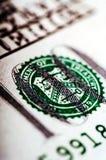 Makrofotografi ett slut upp, detalj av räkningen för dollar 100 Royaltyfri Fotografi