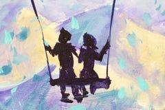 Makromalereimärchen, Abstraktionsmann und Mädchen fahren auf Schwingen Berge im Hintergrund Illustration zum Buch Stockfotografie