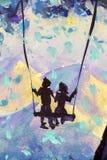 Makromalereimärchen, Abstraktionsmann und Mädchen fahren auf Schwingen Berge im Hintergrund Illustration zum Buch Stockbilder