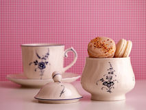 Makron i sockerbunke och kopp Royaltyfri Fotografi