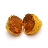 Makronahaufnahme einer gebrochenen organischen runden Gelbwurz Lizenzfreie Stockfotografie