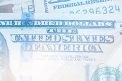 Makronahes hohes helles Tonen von Ben Franklin-` s Gesicht auf dem Dollarschein US 100 Lizenzfreie Stockfotografie