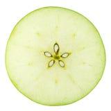 Makronahrungsmittelansammlung - grüne Apfelscheibe Lizenzfreie Stockfotos
