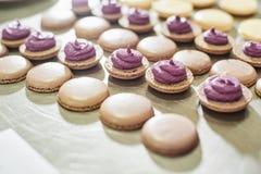 makronskal i ett magasin Process av att göra macaron, fransk efterrätt, royaltyfria foton