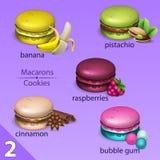 Makronuppsättning med smaker 2 vektor illustrationer