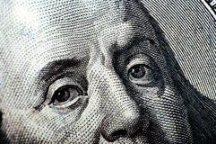 Makrophotographie ein Abschluss oben, Detail des 100 Dollarscheins Stockbild