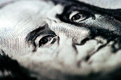 Makrophotographie ein Abschluss oben, Detail des 100 Dollarscheins Lizenzfreie Stockbilder