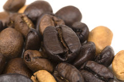 Makroschuß der Kaffeebohnen Stockfoto