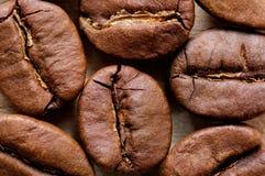 Makroschuß der Kaffeebohnen Stockfotos