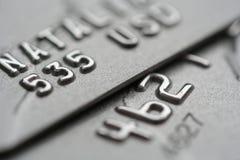 Makroschuß der Kreditkarten Stockfotos