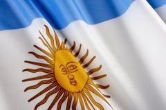 Makroschuß der Markierungsfahne von Argentinien Stockfotos