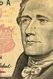 Makroschuß des 10 Dollarscheins Stockfotos