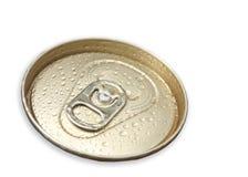 Makroschuß des Dosen-Ringzuges des sehr kalten Bieres lizenzfreie stockfotografie