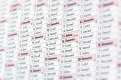 Makroschuß des italienischen Art-Kalenders Lizenzfreie Stockbilder