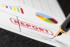 Makroschuß des roten Stempelberichtes und -Füllfederhalters über eine Form mit bunten Diagrammen stockbilder