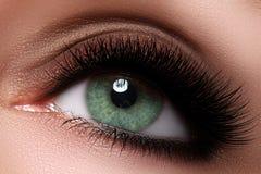 Makroschuß des schönen Auges der Frau mit den extrem langen Wimpern stockfoto