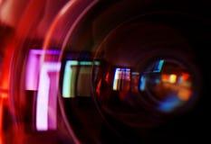 Makroschuß des vorderen Elements eines Kameraobjektivs Stockbild