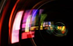 Makroschuß des vorderen Elements eines Kameraobjektivs Stockbilder