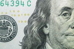Makroschuß eines 100 Dollars Stockfoto