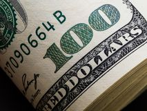 Makroschuß eines 100 Dollars Dollar Nahaufnahme-Konzept- Amerikaner tun Lizenzfreies Stockfoto